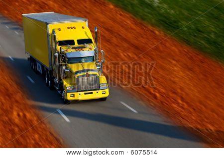 Yellow Semi Truck And Trailer