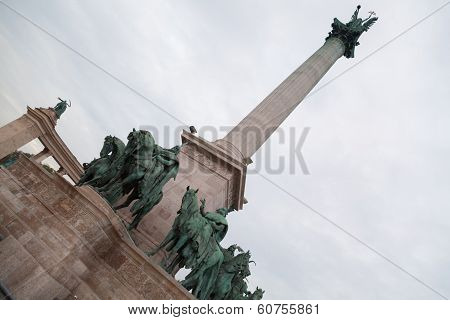 Millennium Memorial In The Heroe's Square In Budapest, Hungary