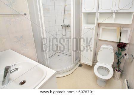 Interior Of Small White Bathroom