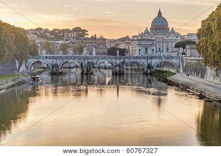 Ponte Sant'angelo (bridge Of Hadrian) In Rome, Italy,