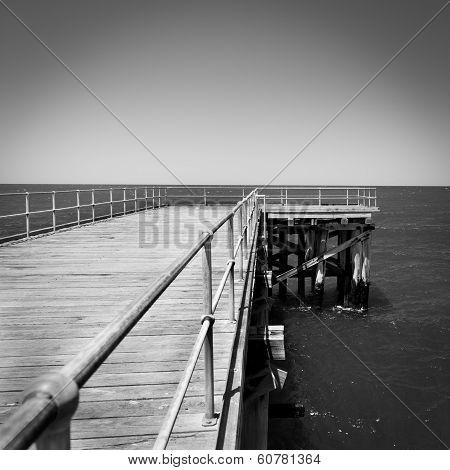 Wooden Jetty Black And White