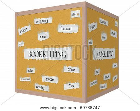 Bookkeeping 3D Cube Corkboard Word Concept