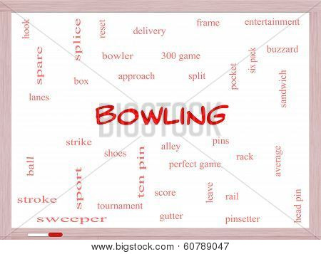 Bowling Word Cloud Concept On A Whiteboard