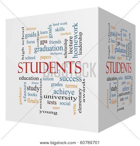 Students 3D Cube Word Cloud Concept
