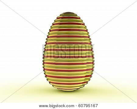 Easter egg made of burnished gold, and painted decoratively. poster