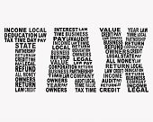 Tax related words in tax shape latter on white background. poster