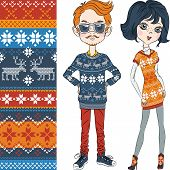 fashion hipster boy and girl in knitted sweaters with Norwegian seamless pattern poster