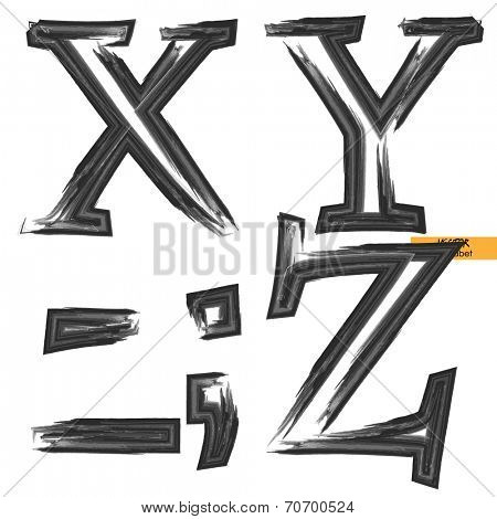 art sketched set of vector grunge character classic black fonts, uppercase symbols, letters X, Y, Z and sign point, semicolon and comma, dash and underscore marks