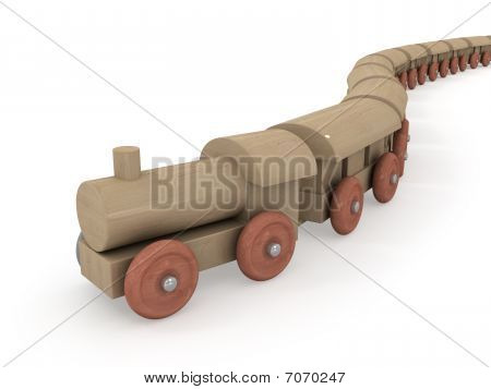 Arrival of wooden train