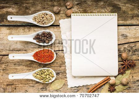 Menu Background. Recipe Notepad With Diveristy Of Spices And Herb.