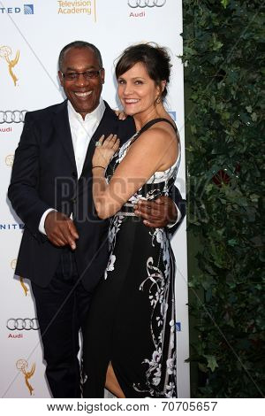 LOS ANGELES - AUG 23:  Joe Morton, Nora Chavooshian at the Television Academy's Perfomers Nominee Reception at Pacific Design Center on August 23, 2014 in West Hollywood, CA