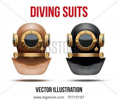 Set of Underwater diving suit helmet. Vector Illustration
