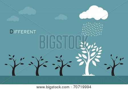 Vector images of trees clouds and rain