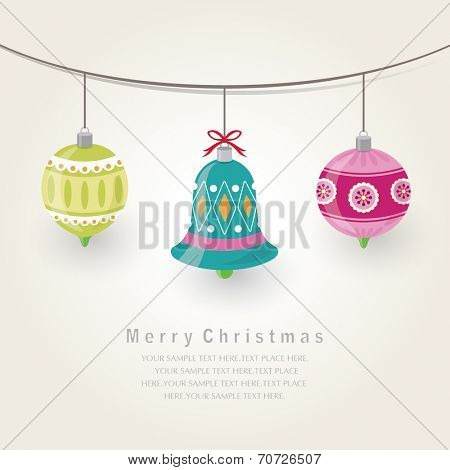 Christmas ornaments.Christmas Greeting Card.Vector illustration.