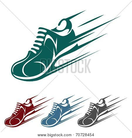 Speeding running shoe icons