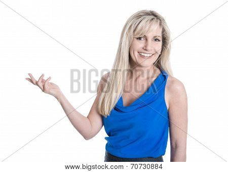 Isolated Blond Mature Woman Is Presenting With Hand Over White Background.