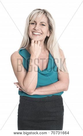 Isolated Attractive Smiling Mature Woman Over White Background.