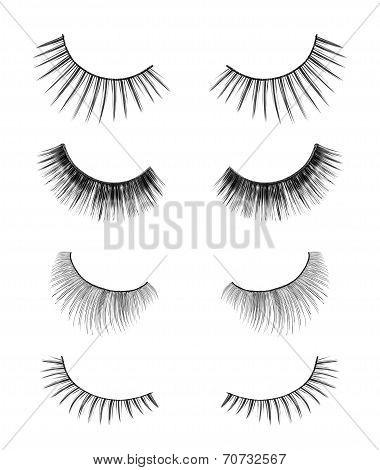 Collection Of Black False Eyelashes On An Isolated White Background
