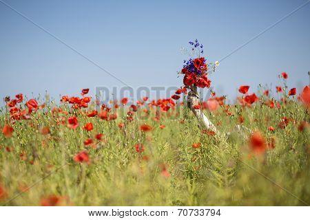 Woman  At Dress Drowns In Poppy Field