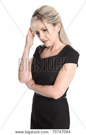 Sad And Sorrowful Isolated Woman In Black Dress Isolated Over White.