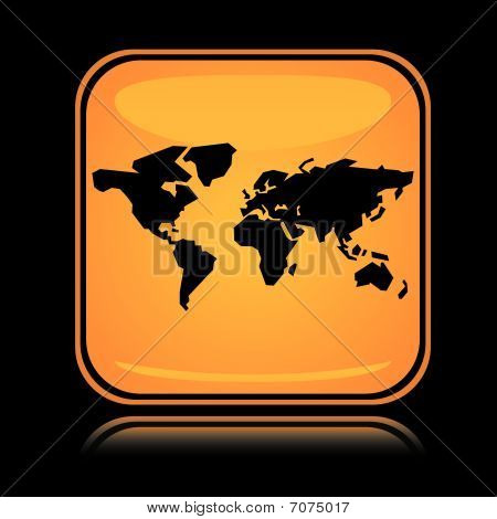 Yellow square icon world earth with reflection