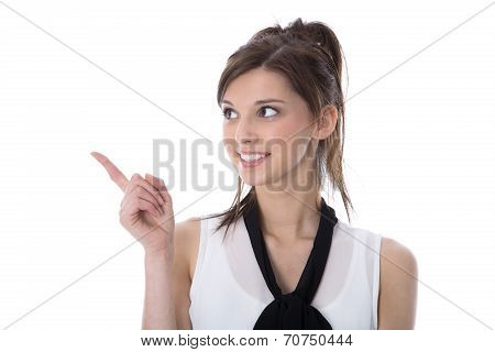 Portrait Of A Smiling Young Isolated Woman Presenting With Finger.