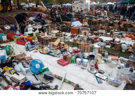 View of flea market in Bonn