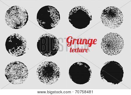Grunge Circle Vector Element Set. Stamp Stain Texture