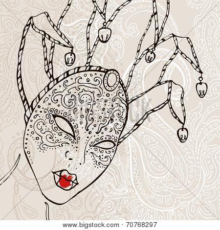 Hand Drawn Venetian  carnival mask. Vector background. poster