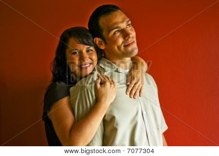 Young Attractive Adult Couple Relationship Hugging In Love