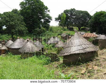 A rural village of mud huts in Africa