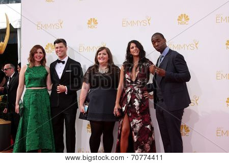 LOS ANGELES - AUG 25:  Saturday Night Live Cast at the 2014 Primetime Emmy Awards - Arrivals at Nokia Theater at LA Live on August 25, 2014 in Los Angeles, CA