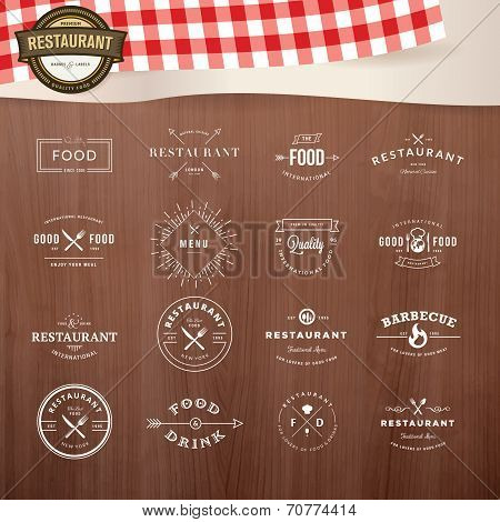 Set of labels and badges for restaurants