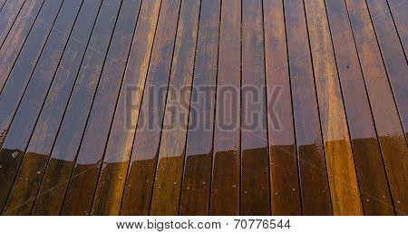 Wet Timber Floorboards Background