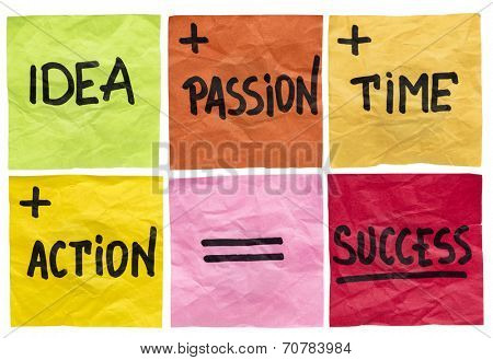 success formula with idea, passion, time and action ingredients - a set of isolated crumpled sticky notes poster