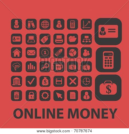 online payment, investment, online money isolated icons, signs, symbols, illustrations, silhouettes, vectors set