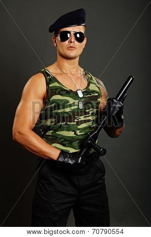 Young military man