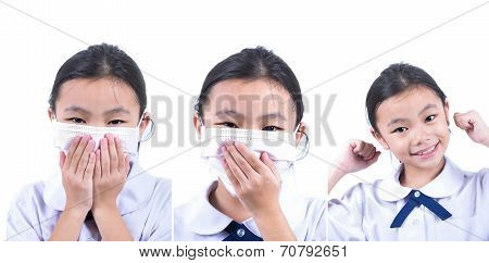 Common cold little asia girl with facemask in white isolated background poster