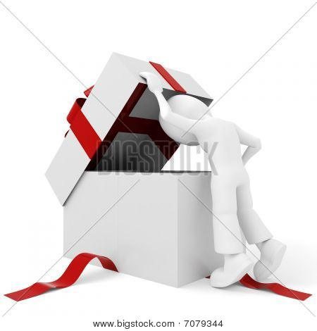 3d man an a present, isolated on white
