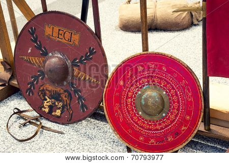 Roman Shields With Romulus And Remus