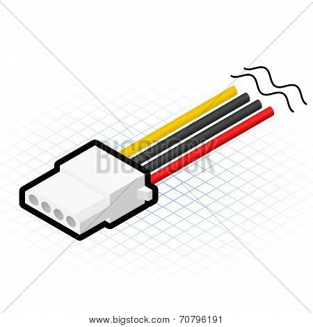 Isometric 4 Pin Power Connector