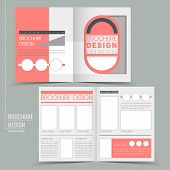 modern geometric style half-fold template for business advertising brochure in pink poster