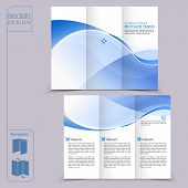 abstract tri-fold blue template for business advertising brochure poster
