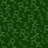Green and White Prescription symbol made from Marijuana Leaves Pattern Repeat Background that is seamless and repeats poster