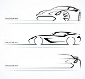 Set of abstract monochrome linear sports car silhouettes. Vector illustration poster