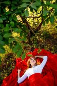 Romantic portrait of the woman in red skirt lying under the tree poster