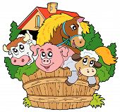Group of various farm animals - vector illustration. poster