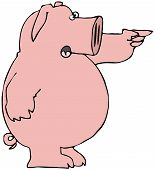 This illustration depicts a pink pig pointing with its left hand. poster