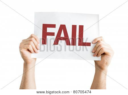 Fail card isolated on white background