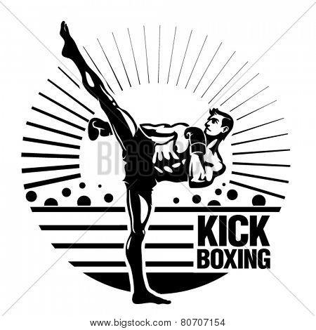 Kickboxing. Vector illustration in the engraving style